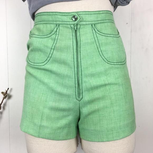 Vintage Pants - Vintage Mint Green Shorts Put-Ons by Ruth Eib